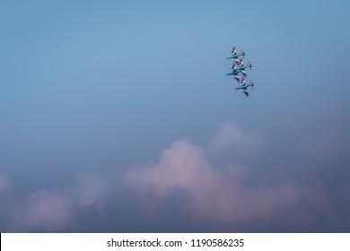 Lago di Garda, Italy - September 16 2018: Frecce Tricolori formation display team of the Italian Air Force (Aeronautica Militare Italiana) at the Valtenesi Air Show 2018, Lake Garda