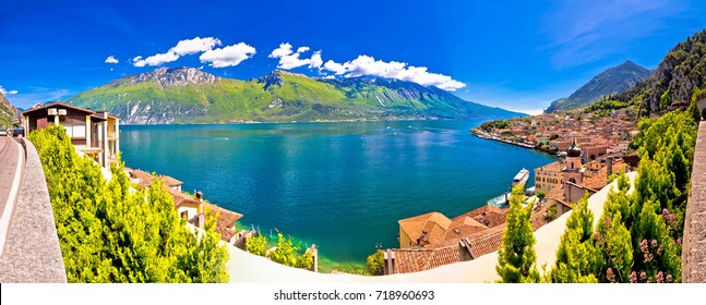 Lago di Garda panoramic view in Limone sul Garda, tourist destination in Italy