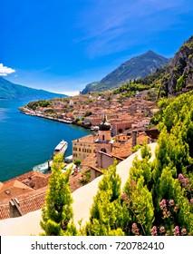 Lago di Garda panoramic view in Limone sul Garda, tourist destination in Italy