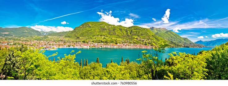 Lago di Garda and town of Salo panoramic view, Lombardy region of Italy