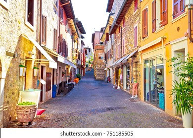 Lago di Garda town of Sirmione colorful street view, tourist destination in Lombardy region of Italy