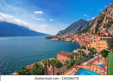 Lago di Garda view and Limone sul Garda town, famous tourist destination in Italy