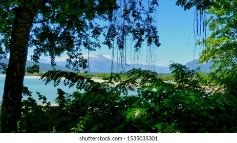 Lago di Santa Croce, Italy - view across the lake
