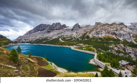 Lago Fedaia (Fedaia Lake), Fassa Valley, Trentino Alto Adige, an artificial lake and a dam near Canazei city, located at the foot of Marmolada massif.