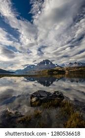 Lago Grey. Cordillera del Paine in the background. Torres del Paine National Park. Chile. South America. UNESCO biosphere.