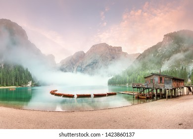 Lago or lake di Braies in National Park Dolomites at Italien Alps