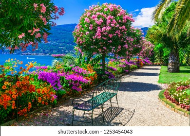 "Lago Maggiore - beautiful ""Isola madre"" with ornamental floral gardens. North of Italy"