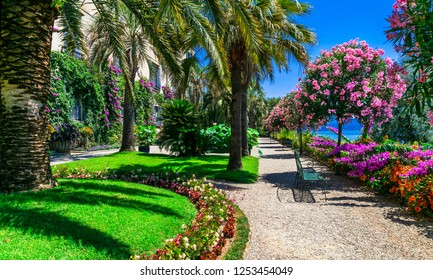 """Lago Maggiore - beautiful """"Isola madre"""" with ornamental floral gardens. North of Italy"""