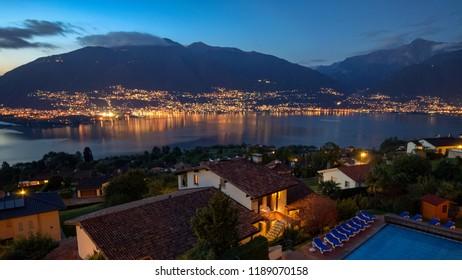Lago Maggiore by night near Locarno (Ticino, Switzerland) after a sunny October day