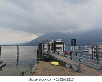 Lago Maggiore coast in Locarno, Tessin, Switzerland on a rainy day