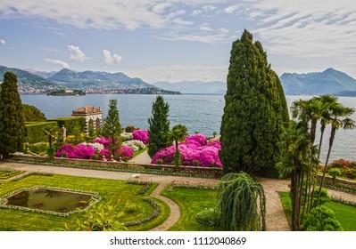Lago Maggiore, Italy. Isola Bella garden of Borromeo palace, Lombardy