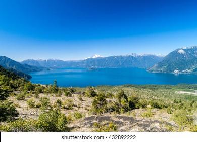Lago Todos los Santos (Lake of all the Saints) with Monte Tronador volcano in background, Chile