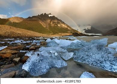 Lago Torre with rainbow, Patagonia, Argentina