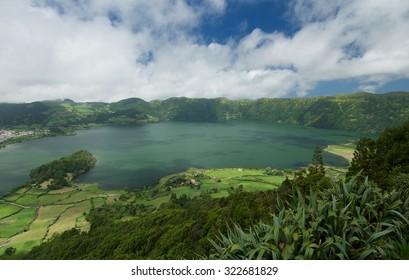 Lagoa Azul lake in Sao Miguel island in the Azores, Portugal