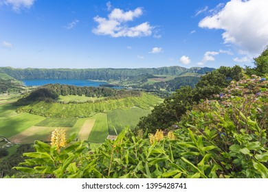 Lagoa das Sete Cidades is a twin lake situated in the crater of a dormant volcano on the Portuguese archipelago of the Azores