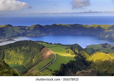Lagoa de Santiago and Lagoa Azul on San Miguel island of Azores