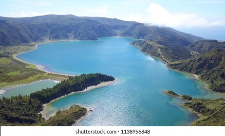 Lagoa do Fogo Azores aerial view shot from licensed drone