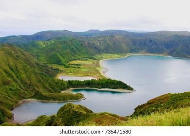 Lagoa do fogo landscape on Azores Island Sao Miguel in Portugal, cloudy sky