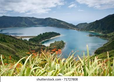 Lagoa do Fogo, a volcanic lake in Sao Miguel island, Azores