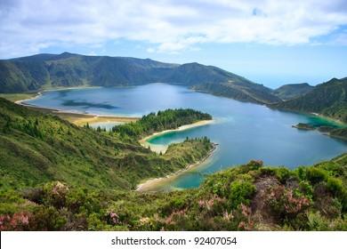 Lagoa do Fogo, a volcanic lake in Sao Miguel, Azores