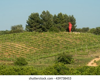 LAGOA, PORTUGAL  - MAY 19 : A view of viticulture Quinta dos Vales near city Lagoa on the coast Algarve. The builder of these statues is Karl Heinz Stock in Portugal, 2016.