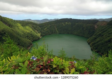 Lagoa Rasa in an old volcanic crater, Sao Miguel Island, Azores, Portugal