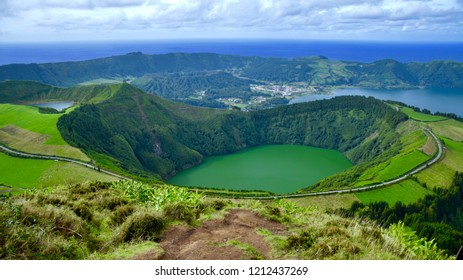 Lagoa Santiago on Sao Miguel island Azores from Bocca do Inferno viewpoint