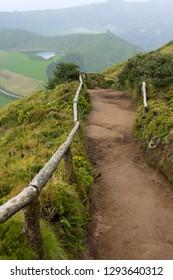 Lagoa Sete Cidades on Azores island. Hiking road.