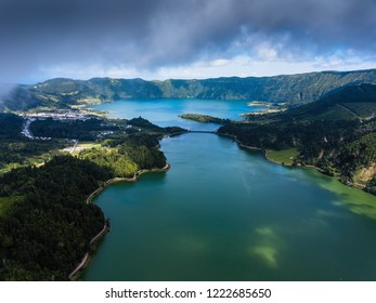 Lagoa Verde and Lagoa Azul, lakes in Sete Cidades volcanic craters on San Miguel island, Azores, Portugal.