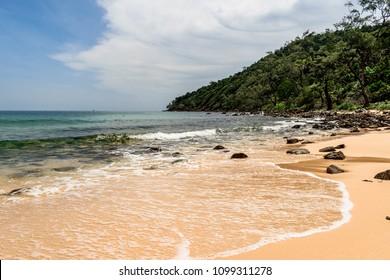 Lagoon, beach, sand, clear sea water and wild jungle. Travle . island in cambodia