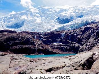 Lagoon Below Glacier On Ausangate Trek
