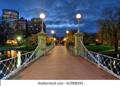 Lagoon bridge at night in Boston Public Garden