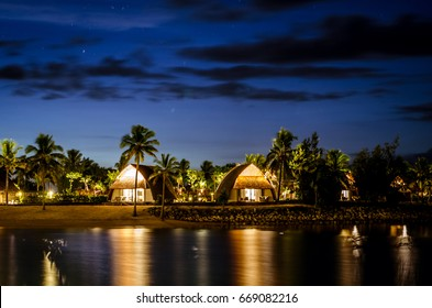 Lagoon and bure view in Fiji during blue hour