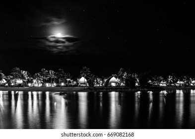 Lagoon and bure view in Fiji at night