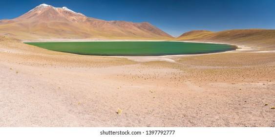 Miñique Lagoon in Desierto de Atacama (Atacama Desert), Chilean altiplano inside Andes. With Miscanti Lagoon are the famous Lagunas Altiplanicas. Awe travel destination. Available at higher resolution