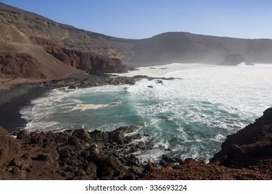 Lagoon El Golfo on Lanzarote, Canary islands, Spain