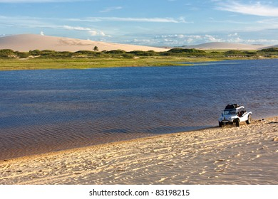 Lagoon at the foot of dunes in the remote town of Jericoacoara in northeast Brazil