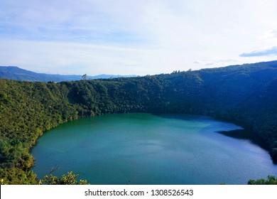 lagoon or lake of guatavita in Colombia, surce of the el dorado legend