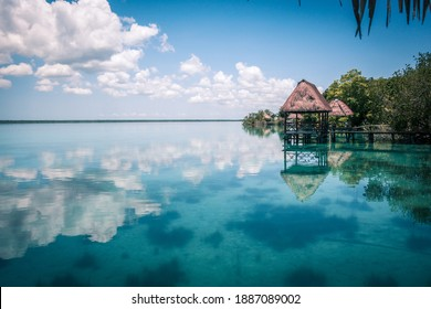 Lagoon in Mexico Bacalar with blue water