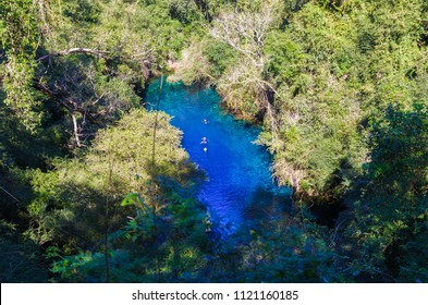 Lagoon mysterious, beautiful lagoon of transparent waters of turquoise blue, located in the city of Bonito, Mato Grosso do Sul, Brazil