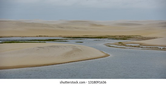 Lagoon on the middle of the dunes at Lencois Maranhenese National Park in Brazil