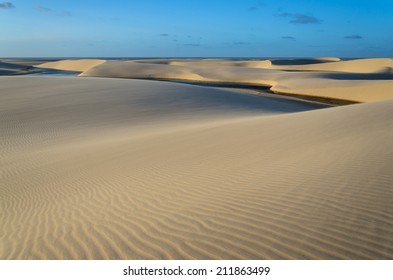 Lagoon on the middle of the dunes in the Lencois Maranhenese National Park in Brazil