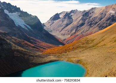Lagoon and Valley in Cerro Castillo in Austral road Chile
