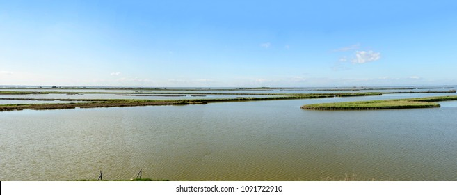 lagoon view from watchtower, shot in bright spring sun light at Comacchio, Ferrara,  Italy