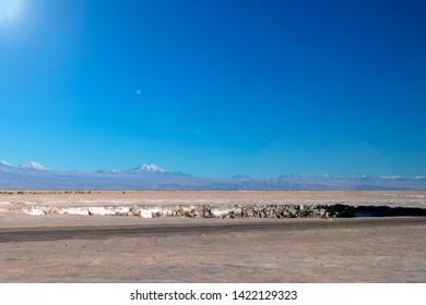 Lagoons Eyes of the Salt Flat (Ojos del Salar), lagoons of fresh and very deep water that are in Salar de Atacama, Chile