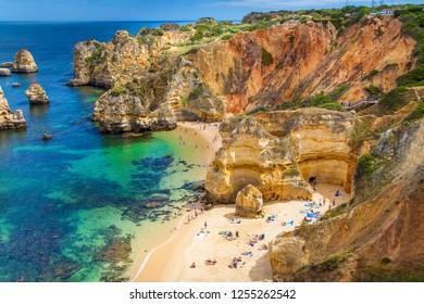 Lagos, Algarve / Portugal - 06/04/2018: Camilo Beach