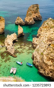 Lagos, Algarve / Portugal - 06/04/2018: View of rocky formations of Ponta da Piedade, Algarve's coast