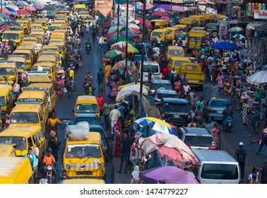 Lagos Island, Lagos / Nigeria - July 2nd 2019: Overhead view of traffic congestion by public buses at Idumota Market, Balogun, Lagos