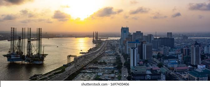 Lagos Island, Lagos State / Nigeria - July 29 2018: Aerial view of Sunset over Lagos Island (CMS) coastal area and Lagos Island