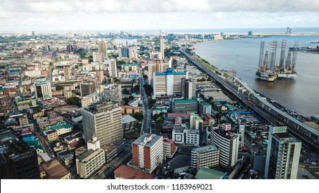 Lagos Island, Lagos State, Nigeria- September 11, 2018: Aerial photo of Lagos Island Nigeria